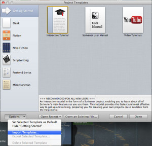 How to open a Scrivener template step 2.