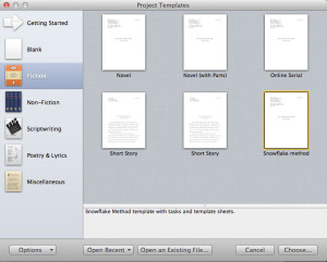 How to open a Scrivener template step 4.